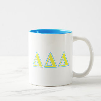 Delta Delta Delta Blue and Yellow Letters Two-Tone Coffee Mug
