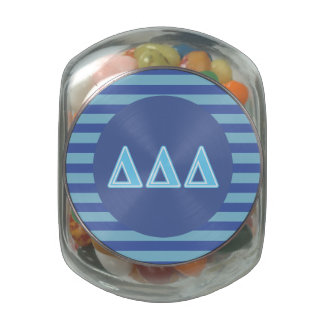 Delta Delta Delta Blue Letters Glass Candy Jar