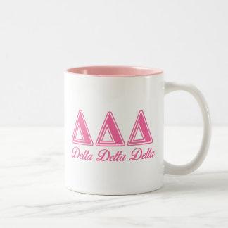 Delta Delta Delta Pink Letters Two-Tone Coffee Mug