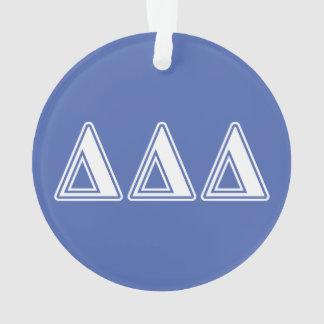 Delta Delta Delta White and Blue Letters