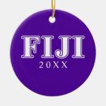 Delta gamma Whie de la phi y letras púrpuras Ornamentos De Reyes Magos