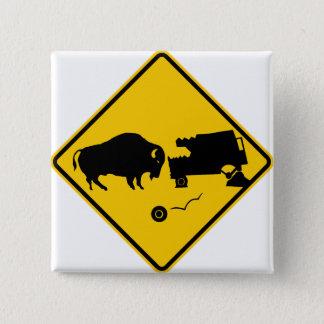 Delta Junction, Alaska, Bison Warning Sign Button