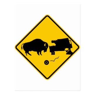 Delta Junction, Alaska, Bison Warning Sign Postcard