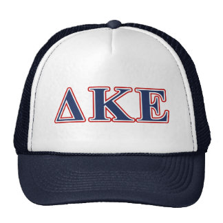 Delta Kappa Epsilon Blue and Red Letters Trucker Hats