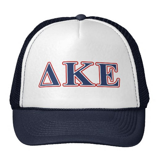 Delta Kappa Epsilon Blue and Red Letters Trucker Hats
