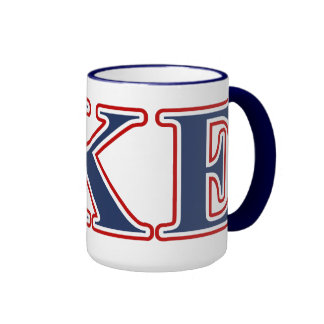 Delta Kappa Epsilon Blue and Red Letters Mug