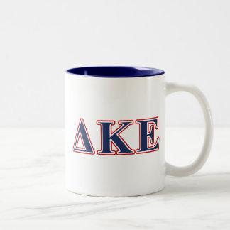 Delta Kappa Epsilon Blue and Red Letters Two-Tone Coffee Mug