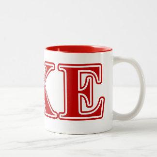 Delta Kappa Epsilon Red Letters Two-Tone Coffee Mug