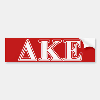 Delta Kappa Epsilon White and Red Letters Bumper Sticker