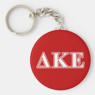 Delta Kappa Epsilon White and Red Letters Keychain