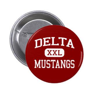 Delta - Mustangs - High - Mer Rouge Louisiana Pinback Button
