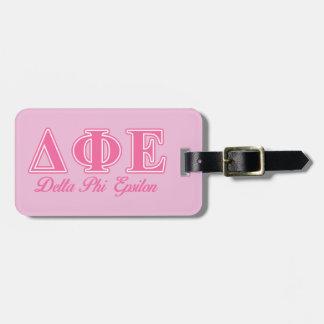 Delta Phi Epsilon Pink Letters Bag Tag