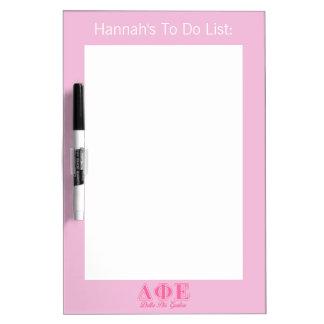Delta Phi Epsilon Pink Letters Dry Erase Board