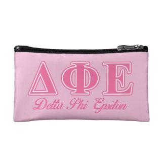 Delta Phi Epsilon Pink Letters Makeup Bags