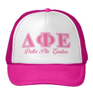 Delta Phi Epsilon Pink Letters Mesh Hat