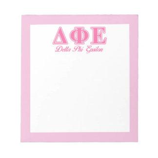 Delta Phi Epsilon Pink Letters Note Pad