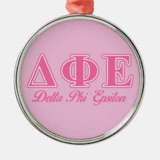 Delta Phi Epsilon Pink Letters Round Metal Christmas Ornament
