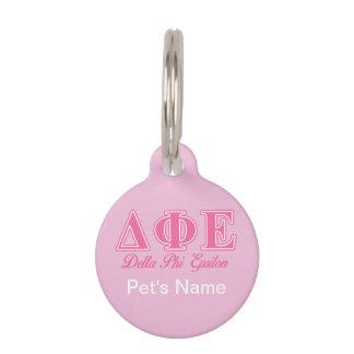 Delta Phi Epsilon Pink Letters Pet Tag