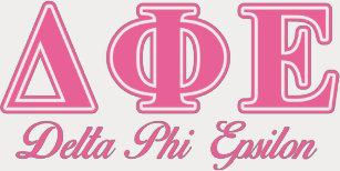 Delta Phi Epsilon Pink Letters T-Shirt