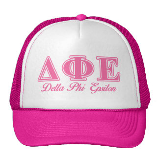 Delta Phi Epsilon Pink Letters Trucker Hat