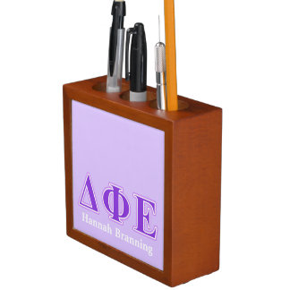 Delta Phi Epsilon Purple and Lavender Letters Pencil Holder