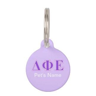 Delta Phi Epsilon Purple and Lavender Letters Pet ID Tags