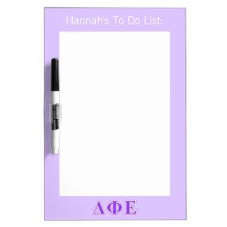 Delta Phi Epsilon Purple and Lavender Letters Dry Erase Boards