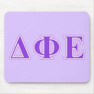 Delta Phi Epsilon Purple and Lavender Letters Mouse Pad