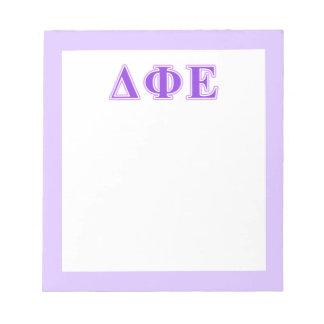 Delta Phi Epsilon Purple and Lavender Letters Scratch Pad