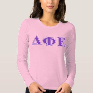Delta Phi Epsilon Purple and Lavender Letters Tee Shirt