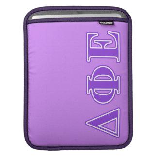 Delta Phi Epsilon Purple Letters iPad Sleeves