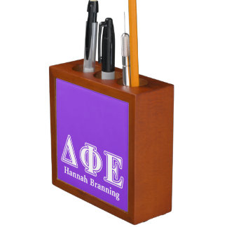 Delta Phi Epsilon White and Purple Letters Desk Organizer