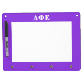 Delta Phi Epsilon White and Purple Letters Dry Erase Board With Keychain Holder