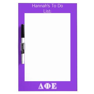 Delta Phi Epsilon White and Purple Letters Dry Erase Board