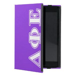 Delta Phi Epsilon White and Purple Letters iPad Mini Cases