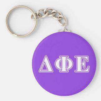 Delta Phi Epsilon White and Purple Letters Keychain