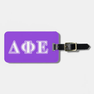 Delta Phi Epsilon White and Purple Letters Tags For Luggage
