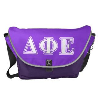 Delta Phi Epsilon White and Purple Letters Courier Bags