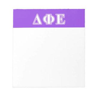 Delta Phi Epsilon White and Purple Letters Memo Note Pads