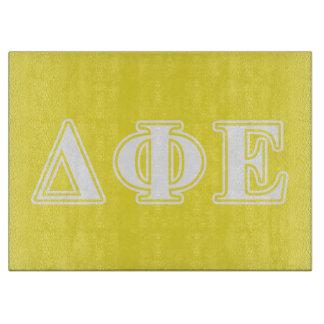 Delta Phi Epsilon White and Yellow Letters Cutting Board