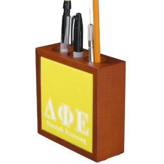 Delta Phi Epsilon White and Yellow Letters Pencil/Pen Holder