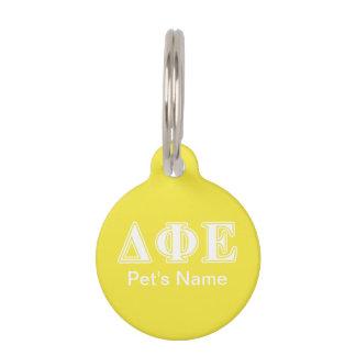 Delta Phi Epsilon White and Yellow Letters Pet Nametag