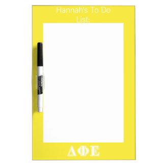 Delta Phi Epsilon White and Yellow Letters Dry Erase Whiteboard