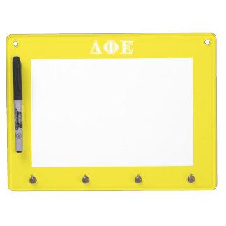 Delta Phi Epsilon White and Yellow Letters Dry-Erase Whiteboards