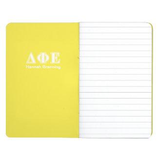 Delta Phi Epsilon White and Yellow Letters Journal