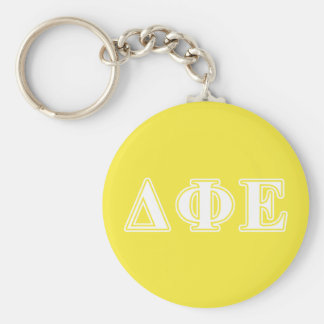 Delta Phi Epsilon White and Yellow Letters Keychain