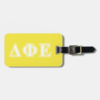 Delta Phi Epsilon White and Yellow Letters Tags For Bags