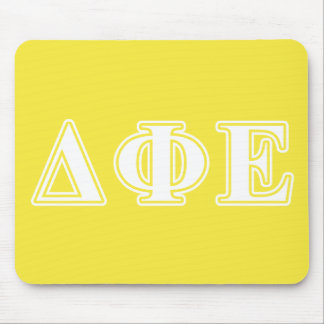 Delta Phi Epsilon White and Yellow Letters Mousepads