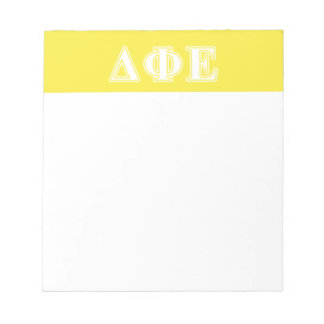 Delta Phi Epsilon White and Yellow Letters Note Pads
