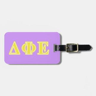 Delta Phi Epsilon Yellow Letters Bag Tags